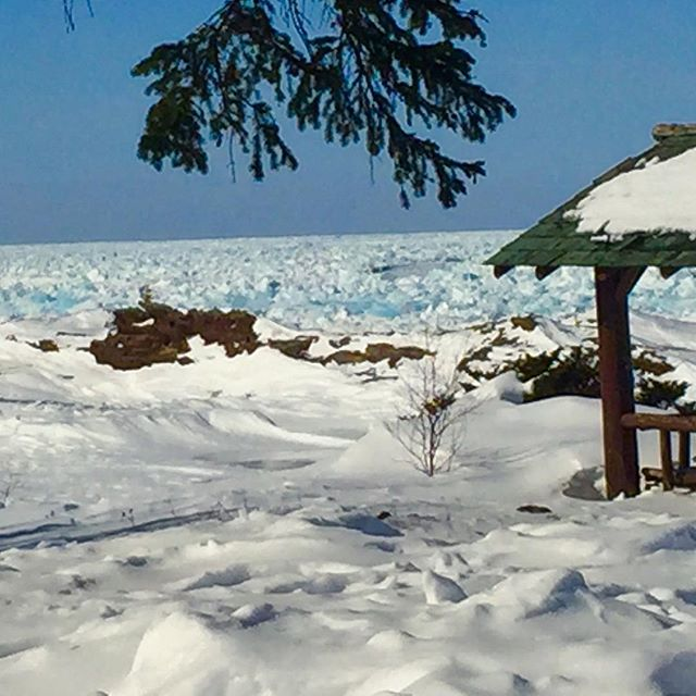 Lake Superior is almost frozen over, and still beautiful as ever! #copperharbor #winterbeauty #keweenaw